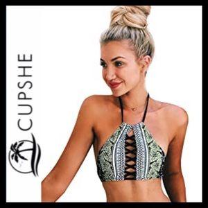 NWOT Cupshe High Neck Halter Bikini Top